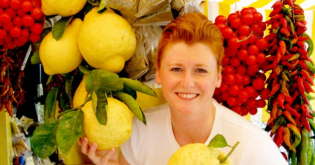 Taste of Health CEO Barbara Kerr Poses with GIANT Lemons - Positano, Italy